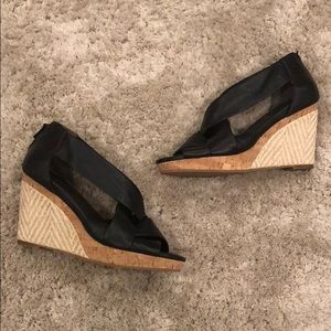 Cole Haan Leather Espadrille and Cork Wedges NWOT